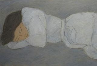 「白いガウンの女」パステル8号