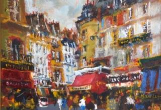 山本彪一「サンジェルマンにて パリ風景」油彩3号