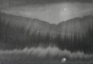 田中みぎわ「夜と月の呼吸」 25×35cm  墨、胡粉/石州半紙稀