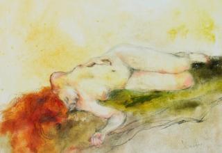 大和田いずみ 「横たわる裸婦」 油彩50.6x60.7