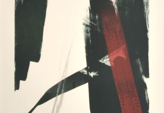篠田桃紅「Epical」リトグラフ+手彩 71.5×52.5cm