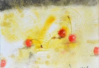 大和田いずみ 「さくらんぼ」油彩20.3x25.4cm