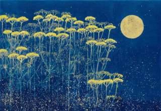 「月下の草花」フレスコグラフ26×33.5㎝ ギャラリー桜の木創立30周年記念制作版画 限定150部
