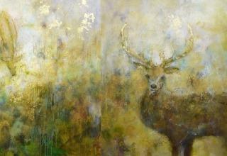 大和田いずみ 「母なる自然 Mother Nature」 油彩 銀箔 50号