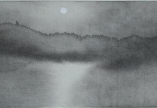 田中みぎわ「月の音が聴こえる」 12.5×35cm  墨、胡粉/石州半紙稀