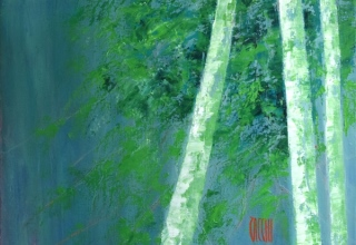ザッキ 「グリーン」 油彩50×50