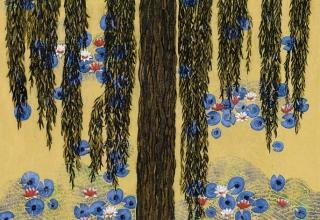 平松礼二「モネの池・睡蓮」フレスコグラフ 26×33㎝
