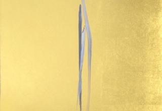 篠田桃紅 「無題」 50×30cm 墨・銀泥・金箔