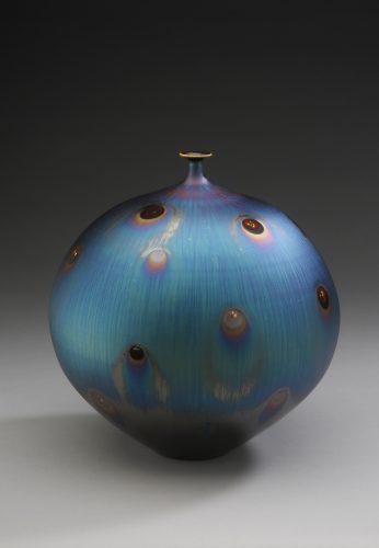 Vase with Peacock glaze_H26xW24