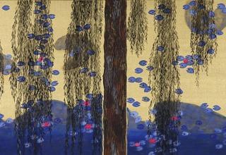 平松礼二 「ジャポニスム モネの池柳図」 日本画65.2×32.7cm