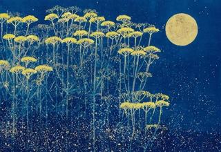 平松礼二「月下の草花」フレスコグラフ 26×33㎝