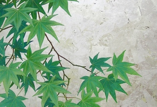 佐々木理恵子  「青紅葉」 岩絵具  水干絵具  箔  和紙 円形10号