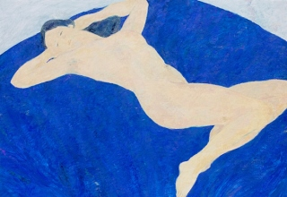 ボンコンパン「青い背景の裸婦」油彩40号