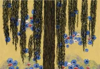 「モネの池・睡蓮」フレスコグラフ 25.7×33.5㎝ ギャラリー桜の木創立30周年記念制作版画 限定150部