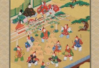 林美木子 「掛軸 人日 1月 左義長図」 104×29.5cm