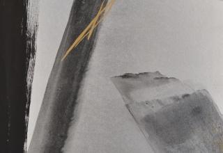 篠田桃紅 「初心-native-」 プラチナ箔・墨 90×60cm