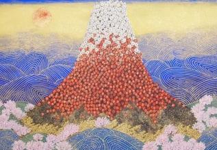 平松礼二 「日本の祈り」 日本画180.0x85.0cm