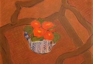 「肘掛け椅子の上の桜草」パステル 6号