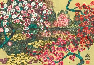 平松礼二「モネ・花の庭」日本画4号