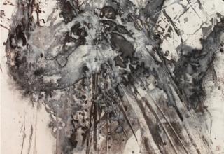 菅原健彦「神代桜」 73×73 墨、岩絵具、胡粉/麻紙