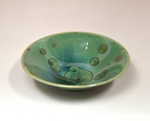 12.17_Tea bowl with Green crystalline glaze_w17.5×H5㎝