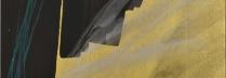 篠田桃紅 「旅路 Journey」 墨・緑墨・金箔・銀箔 90×60