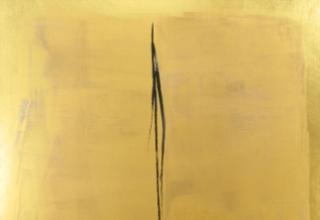 篠田桃紅 「あめつちに」 100×100 墨・金箔・胡粉