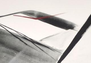 篠田桃紅「one's way」リトグラフ+手彩 49.6×66.7cm
