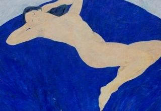 「青い背景の裸婦」油彩40号