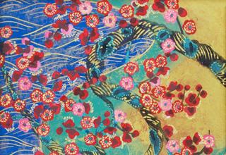 平松礼二「梅花図」23×23 日本画
