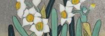 平松礼二 「水仙歌」 日本画15.5×15.5