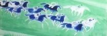 ブラジリエ 「ホースレース」  水彩 55x75cm