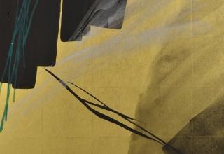 篠田桃紅 「旅路 Journey」 墨・緑墨・金箔・銀箔 90×60cm