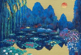 平松礼二 「印象・モネの池・朝」 日本画 絹本 4号