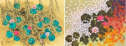 『ジベルニー 光る池』日本画20号  『モネの池 春秋図』日本画6号
