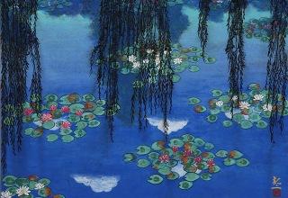 平松礼二 「ジヴェルニー夏の池」 日本画8号