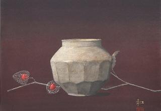 中西和 「李朝壺と秋果」 洗い出し 46×38