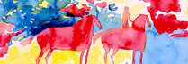 ギヤマン「赤と青のロマンス」 水彩