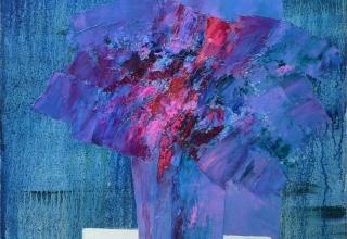 ザッキ 「風のおどろき」油彩 100×100㎝