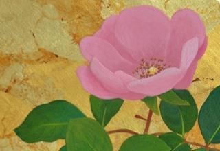 「掌の庭-バラ-」日本画  20×20㎝
