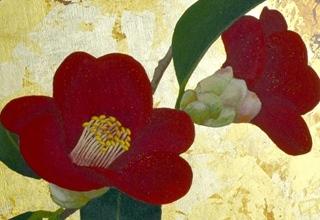 「掌の庭-二人椿-」日本画 20×20㎝