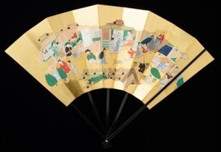 林 美木子 「月次扇 十二月 洛中師走図 」W51.5×H36.5㎝