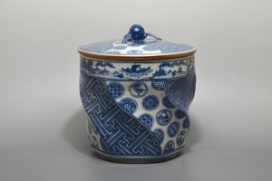 叶松谷 「捻祥瑞意古紋丸文水指」 陶器 15.5×15.5×H19㎝