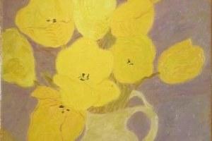 「黄色いチューリップのブーケ」油彩 8号