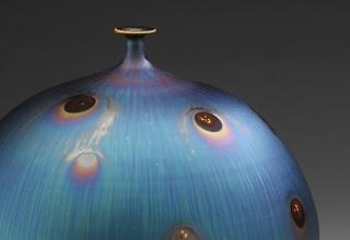「Vase with Peacock glaze」陶磁器 H26xW24㎝