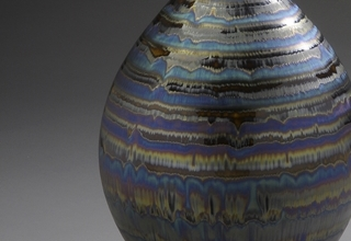 「Bottle with Blue and Brown glaze」陶磁器 H49xW21.6cm
