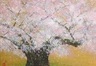 「淡墨桜」日本画 6号