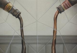 「ぐびぐび」油彩、砂/キャンバス 27.3×54.6㎝