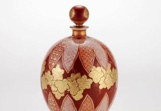 「赤絵金襴手更紗小紋 葡萄図 蓋付瓶」径130×高さ210㎜
