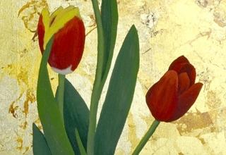 「小さな庭-チューリップ-」日本画 25×25㎝